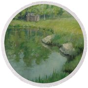 Cabin By The Pond Round Beach Towel