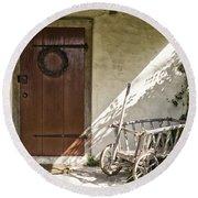 Cabin Door Round Beach Towel