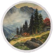 Cabin In The Alps Round Beach Towel