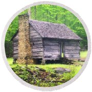 Cabin In The Smokies Round Beach Towel by Marty Koch