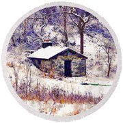 Cabin In The Snow Round Beach Towel