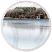 Cabin On A Lake Round Beach Towel