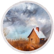 Cabin With Fence Round Beach Towel