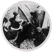 Cabinet Of Dr. Caligari Round Beach Towel