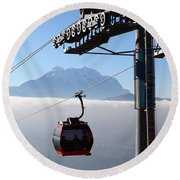 Cable Car Above The Andes Round Beach Towel