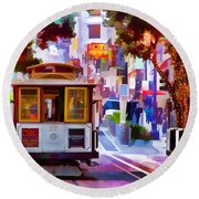 Cable Car At The Powell Street Turnaround Round Beach Towel