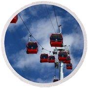 Red Line Cable Car Gondolas Bolivia Round Beach Towel