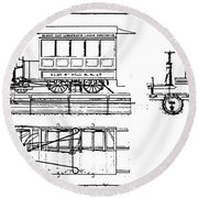 Cable Car Patent, 1873 Round Beach Towel