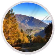 Cableway In Autumn Round Beach Towel