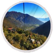 Cableway Over The Mountain Round Beach Towel
