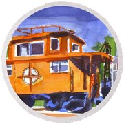 Caboose With Silver Signal Round Beach Towel