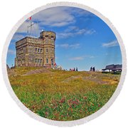 Cabot Tower In Signal Hill National Historic Site In Saint John's-nl Round Beach Towel