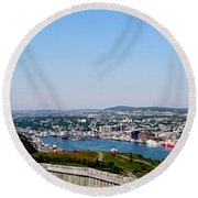 Cabot Tower Overlooking The Port City Of St. John's Round Beach Towel