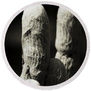 Cacti Ghost B And W  Round Beach Towel