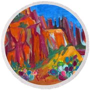 Cacti With Red Rocks And Rr Trestle Round Beach Towel