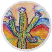 Cactus And Clouds Round Beach Towel