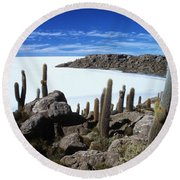 Cactus Forest And Salar De Uyuni Round Beach Towel