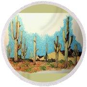 Cactus With A 'tude Round Beach Towel