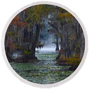 Caddo Lake Morning Round Beach Towel