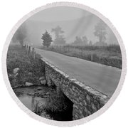 Cades Cove Black And White Round Beach Towel by Frozen in Time Fine Art Photography