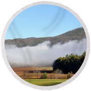 Cades Cove Fields Round Beach Towel