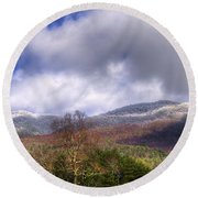 Cades Cove First Dusting Of Snow II Round Beach Towel by Debra and Dave Vanderlaan