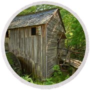 Cades Cove Grist Mill Closeup Round Beach Towel
