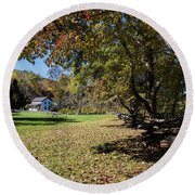 Cades Cove House And Fall Colors Round Beach Towel