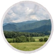 Cades Cove In Summer Round Beach Towel by Todd Blanchard