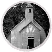Cades Cove Missionary Baptist Church Round Beach Towel