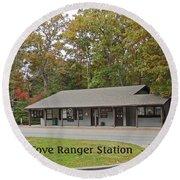Cades Cove Ranger Station Round Beach Towel