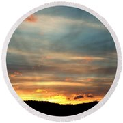 Cades Cove Sunset Round Beach Towel