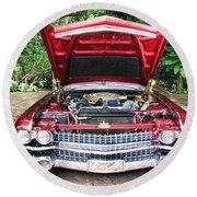 Cadillac Engine Round Beach Towel
