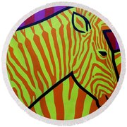 Cadmium Zebra Round Beach Towel