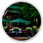 Cafe Alfresco Round Beach Towel