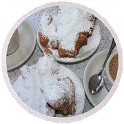 Cafe Au Lait And Beignets Round Beach Towel by Carol Groenen