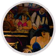 Cafe Bar In Montmartre Round Beach Towel