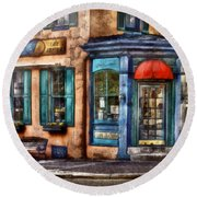Cafe - Cafe America Round Beach Towel by Mike Savad