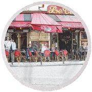 Cafe Conti Round Beach Towel
