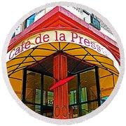 Cafe De La Presse In San Francisco-california  Round Beach Towel
