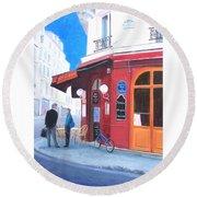 Cafe Des Musees Paris Round Beach Towel