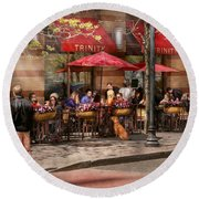 Cafe - Hoboken Nj - Cafe Trinity  Round Beach Towel