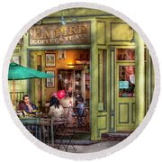 Cafe - Hoboken Nj - Empire Coffee And Tea Round Beach Towel