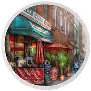 Cafe - Hoboken Nj - Vito's Italian Deli  Round Beach Towel by Mike Savad