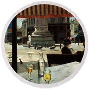 Cafe In A City Square Round Beach Towel