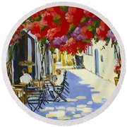 Cafe Round Beach Towel