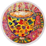 Cafe Latte - Coffee Cup With Colorful Coffee Cups Some Pink And Bubbles  Round Beach Towel