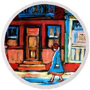 Cafe Laurier Montreal Round Beach Towel