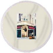 Cafe Le Barometre In Paris Round Beach Towel