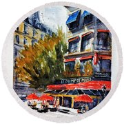 Cafe Le Champ De Mars Round Beach Towel